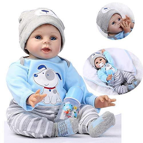 HRYEOY Handgemachtes 22 Zoll 55 cm Baby Reborn Puppe Kleinkind Silikon Vinyl Magnetisches Doll Kind Geschenke Jungen Mädchen Spielzeug Geburtstagsgeschenk