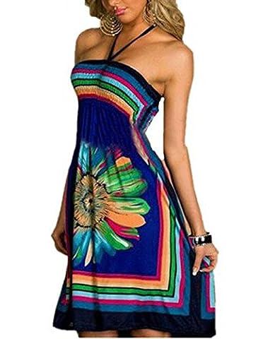 Shinekoo Women Summer Sleeveless Floral Print Bandeau Beach Dress Sundress