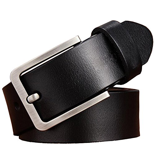 """JingHao Mens Belts Big and Tall Size Genuine Leather Casual Belt for Jeans Dress Sizes 28""""-64"""" Black Brown A18 (6XL 52""""-54"""" Length 145cm, Black)"""