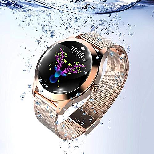 KW10 Montre Intelligente,Montre Cardiofréquencemètre,Tracker d'Activité Écran Coloré,Smart Bracelet en Acier connecté Podomètre Rappel Physiologique,Étanche IP68 Sport Montre pour Android iOS ... (Or)