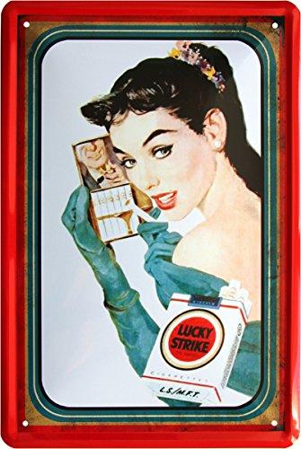 Lucky Strike sexy girl sigaretta di tabacco reklame Bar decorativo 20x 30cm Targa in metallo 423