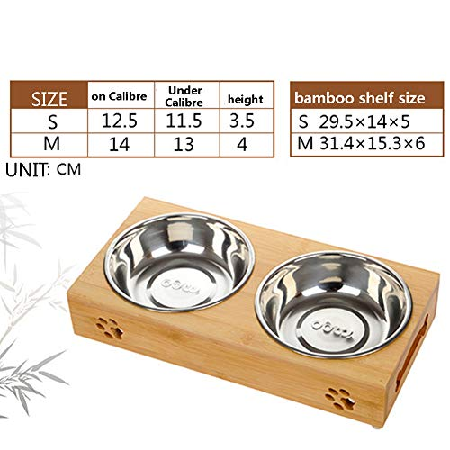 Zero Doppel Fressnapf Hundenäpfe Edelstahl/Keramik Erhöhter Bambus Stand Set Von Doppelschüsseln Kleine Hunde Und Katzen,Twobowlstainlesssteel,M