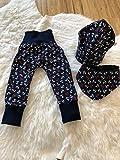 IW-Atelier: Baby Hose, Motiv: Anker dunkelblau, im Set mit Mütze und Schal, 62, 68, 74, 80, Mitwachshose, Pumphose, Schlupfhose