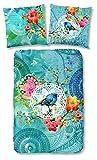 HIP 5365-H 135cm bettwäsche mit Vögeln und Blumen, 100% Baumwolle/Satin, mehrfarbig, 200 x 135 x 0,5 cm