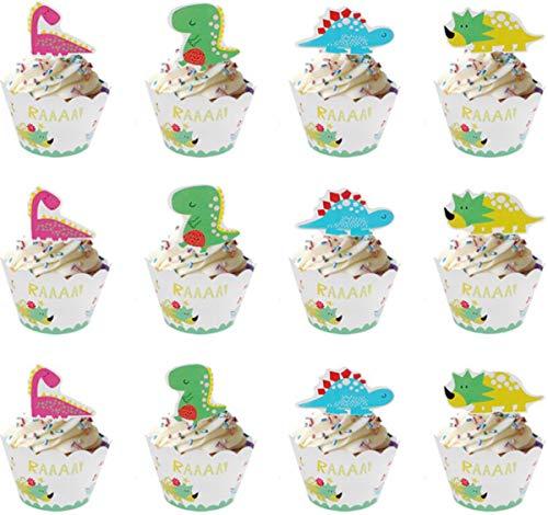 36PCS Dinosaurio Cupcake Topper de Tarta Magdalenas Decoración y Doble Cara Cupcake...