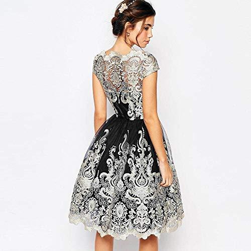 Damen elegante Stickerei Kleid, Selou Lace Prom formale Abendgesellschaft Brautjungfer Prinzessin Kleid Mädchen Rockabilly Abschlussball Vintage Hochzeit Festliche Business Bodycon Party Kleid