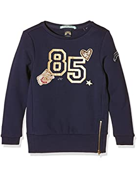 Scotch & Soda R'Belle Mädchen Sweatshirt Longer Length Crewneck Sweat with Glitter Artworks