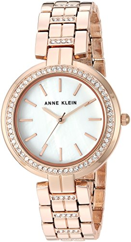 Anne Klein Women's AK/2968MPRG Swarovski Crystal Accented Rose Gold-Tone Bracelet Watch