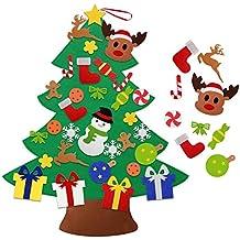 Árbol de Navidad de Fieltro DIY HusDow con 31 adornos navideños Árbol Navideño Familiar 3D de