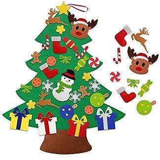 Árbol de Navidad de Fieltro DIY HusDow con 31 adornos navideños Árbol Navideño Familiar 3D de 97 cm Árbol de Navidad para Niños y Pequeños Decoración Navideña para Puertas Ventanas y Paredes