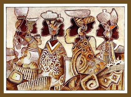 Michel Moreau Poster Kunstdruck Bild Marche Africain 45x62cm im Alu Rahmen in Bronze -
