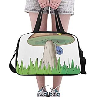 Wild Life Mushroom Cute Cartoon Custom Large Yoga Gym Totes Fitness Handbags Travel Duffel Bags With Shoulder Strap Shoe Pouch For Exercise Sports Luggage For Girls Mens Womens Outdoor