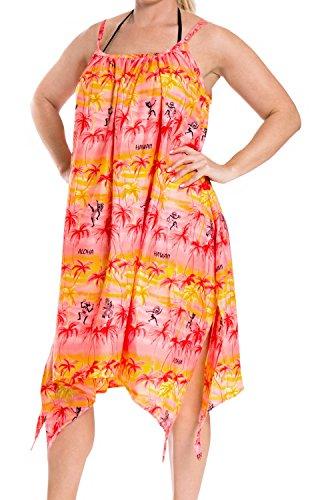 La Leela Beachwear Bikini Beach Cover up Swimwear Swimsuit Caftan Top Women Red Cover up
