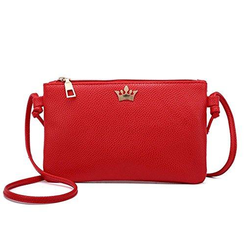 Ohq moda borsa donna, scarpe e borse donna tote borsa accessori a tracolla in pelle da di colore puro moneta (rosso)