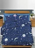 Copripiumino In 100% Cotone, Per Letto 1 Piazza e Mezza, disegno luna stelle notte