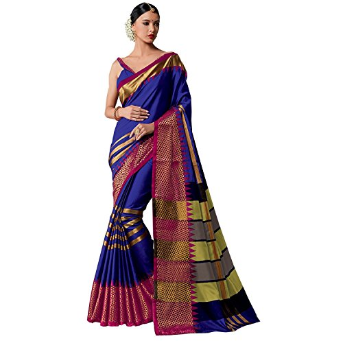 Art Décor Sarees Women's Blue Color Cotton Silk Jacquard Saree With Blouse