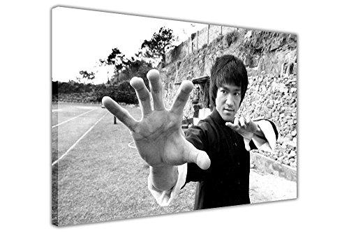 "Martial Arts Leinwandbild, Motiv: Martial Arts-Legende Bruce Lee, gerahmt, Schwarz / Weiß, canvas holz, schwarz / weiß, 08- A0 - 40"" X 30"" (101CM X 76CM)"