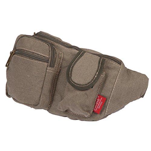 Canvas-Bauchtasche | Damen & Herren | Gürteltasche | Umhänge-Tasche | Designer Brusttasche Olive