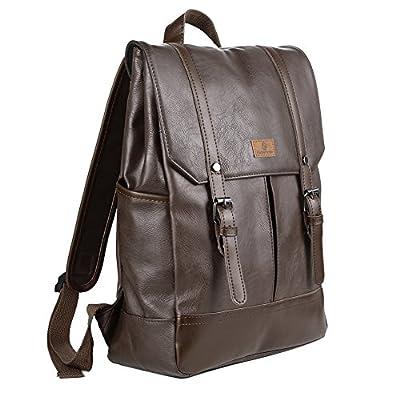 """Koolertron-Sac à dos Classique Casual PU cuir pour ordinateur portable(14 """") Mode Vintage unisexe pour l`école camping Voyage"""