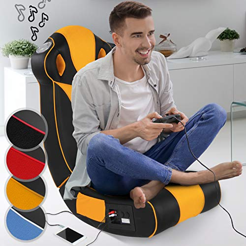 Soundsessel in diversen Farben | aus Kunstleder, zusammenklappbar, mit Lautsprecher, Surround und Subwoofer | Soundchair, Multimediasessel, Musiksessel, Musikstuhl, Gaming Chair,Music, Rocker(Orange)