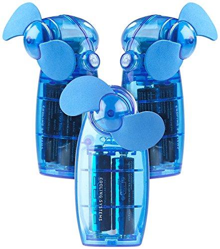 PEARL Mini Handventilator: Batterie-betriebener Mini-Hand- und Taschen-Ventilator, blau, 3er -Set (Handventilator mit Batterie) -