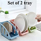 #3: Woogor 2 PC Plastic Kitchen Tableware Dish Cutlery Utensils Plate Sponge Shelf Drying Draining Rack Organizer Drainer Storage Tray Holder (Assorted Color)