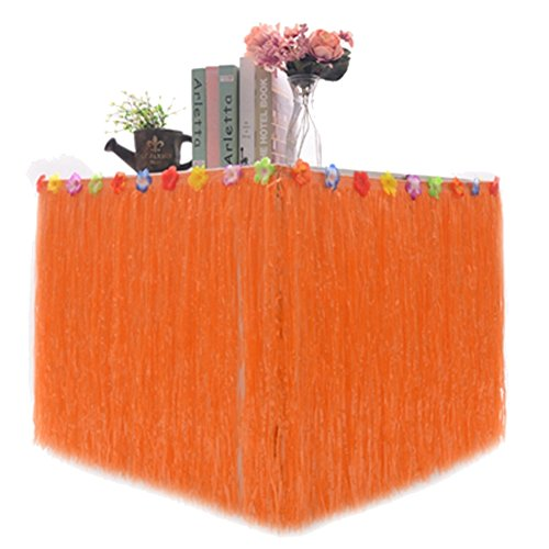 pu ran Hawaiian Luau Tisch Rock, Hawaiian Luau Hibiskus Gras Tisch Rock für BBQ Tropical Garden Beach Summer Tiki Party Dekorationen, Orange, 276cm x 75cm