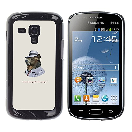 SuperStar // Kühles Bild Hartschalenkoffer PC Schutzhülle Hard Case Protective Cover for Samsung Galaxy S Duos S7562 / Funncy Grizzly Bear in Mütze Gangsta / (Mütze Carbon)