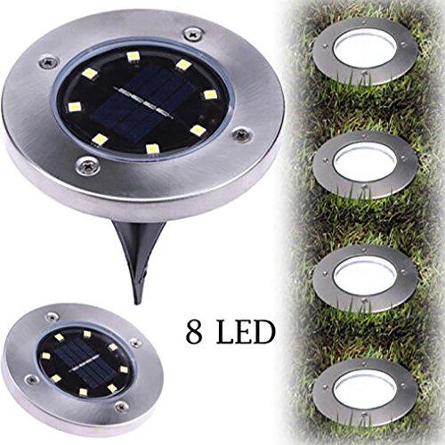 Energía Solar Enterrada Luz,Gusspower 8LED Energía Solar Enterrada Luz Debajo de la lámpara de suelo Outdoor Path Way Decking de jardín solar Planta de luz lámpara a prueba de agua (Blanco) (A)