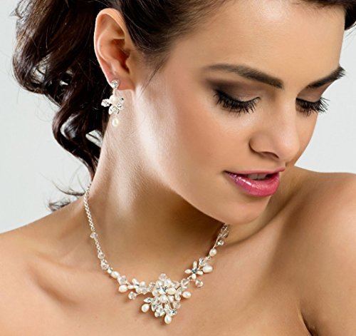 MGT-Shop mariée Collier Set de chaîne collier Parure de mariée Bijou Fantaisie Collier la mariée cristal strass Pierres Perles décoratives MN25 Silber