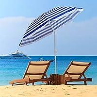 Greenbay 1.6M Blue-White Stripes Beach Parasol Garden Patio Camping Sun Shade UV Protection Umbrella with Tilt Mechanism 29