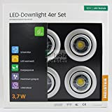 MEISTER LED Downlight Rund 12Volt 3,7Watt, 4er Set, Titan