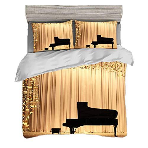 Dodunstyle Bettwäscheset (200 x 200 cm) mit 2 Kissenbezügen Gold Digitaldruck Bettwäsche Konzert Theater Bühne Vorhänge Flügel Gold Schwarz,Rot und Marineblau, Pflegeleicht antiallergisch weich glatt