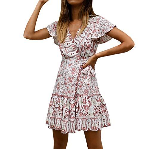 Kleider Damen Sommer Kurz Sexy, Geblümte Sommerkleid für Frauen Kurzarm V-Ausschnitt A-Linie Einteiler Knöpfen Empire Wickelkleid Skater Freizeitkleider Mädchen Partykleider Elegant (S, Rosa 0791) -