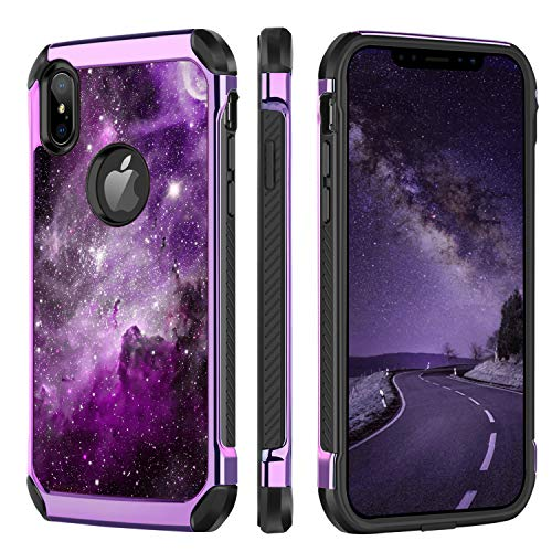 BENTOBEN iPhone XS Max Hülle, iPhone XS Max Schutzhülle, Galaxis Nebula Pattern stoßfest Schutzhülle Hybrid PC TPU Cover Hülle für iPhone XS Max 6.5 Zoll Lila