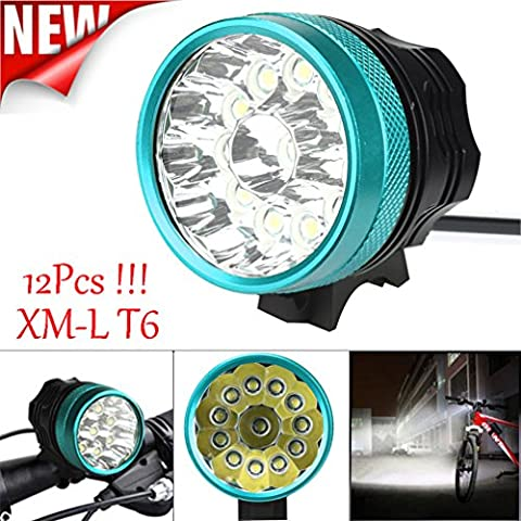 Bicycle Light, TopTen 12x T6 LED 12000 Lumens 3 Modes Ultra Bright Bike LED Headlamp Head Flashlight for Camping Hunting Hiking and Outdoors