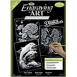 Royal & Langnickel SILF-SET4 - Engraving Art/Kratzbilder, DIN A4, Wasserwelt, 3-teilig Vorteilspack, silber