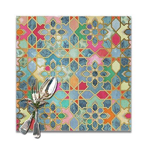 Cocoal-ltd Gilt & Glory Bunte marokkanische Mosaik-Tischsets für Esstisch, waschbare Tischsets, hitzebeständig (30,5 x 30,5 cm) 6er-Set (Bunt Esstisch-set)