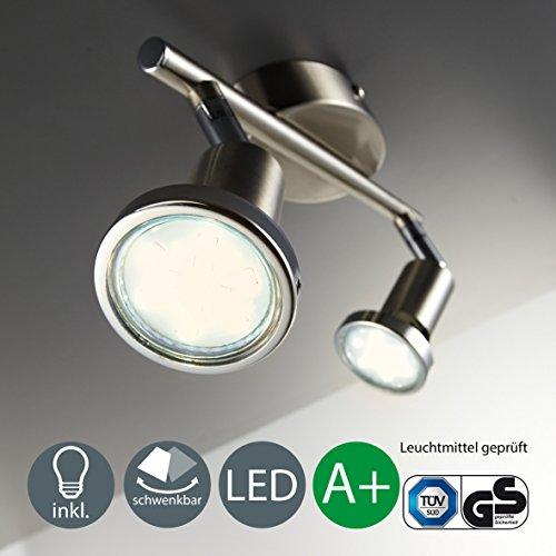 Lámpara de techo I Foco LED para techo y pared I Orientable I Incluye 2 bombillas LED GU10 de 3 W I Color de la luz blanco cálido I Metal I Color níquel mate I 230 V I IP20 I Longitud: 255 mm