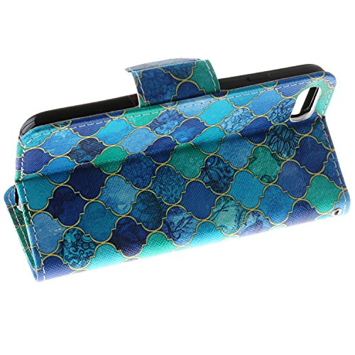 iPhone 7 Custodia, SsHhUu Lusso Stylish MagneticoStand Card Slot PU Leather Flip Protettivo Portafoglio Slim Cover Case + Stylus Pen per Apple iPhone 7 / iPhone 8 4.7 Reticolo