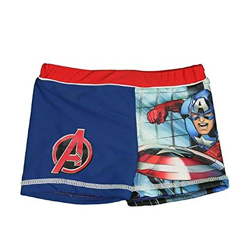 Marvel Avengers Captain America - Costume Boxer Short Mare Piscina - Capitan America - Bambino - Novità Prodotto Originale AV91015 [Blu/Rosso - 4 anni]