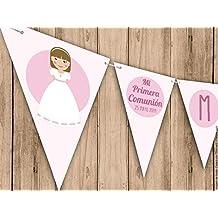 Guirnalda para Primera Comunión niña, en color rosa. Guirnalda decorativa. Banderines para fiestas