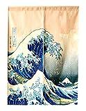 LIGICKY Cortina Japonesa Noren para Puerta Ukiyoe Hokusai