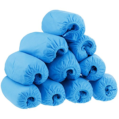 Price comparison product image 100 Disposable Shoe Cover Overshoes, Rovtop 50 Pairs Thicker Non-woven Fabrics Boot & Shoe Covers, Blue, One Size Fits Most Fits up to Size 10.5