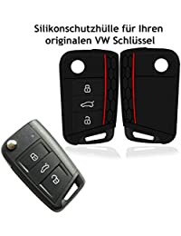 Hülle für VW Golf 7 GTI MK7 3-Tasten Autoschlüssel - Silikon Schlüssel Schutzhülle in Schwarz - Etui Schlüsselhülle Cover für Klappschlüssel