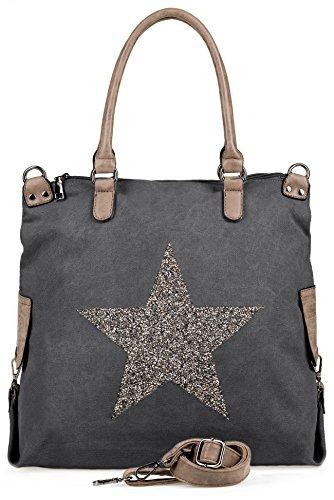 NavyBlu® Damen vintage Schultertasche Canvas Tasche mit Stern Handtasche Umhängetasche Henkeltasche E11-1 (Outlet Grau)