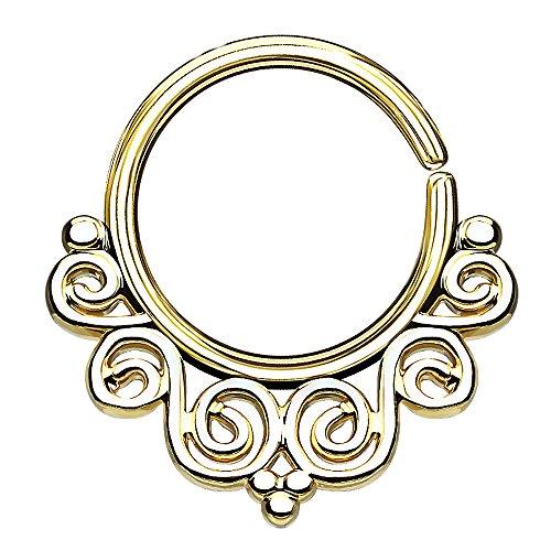Piercingfaktor Piercing Continuous Tribal Vintage Wirbel Ring Ohr Nase Lippe Brust Intim Septum Helix Hufeisen Horseshoe Gold