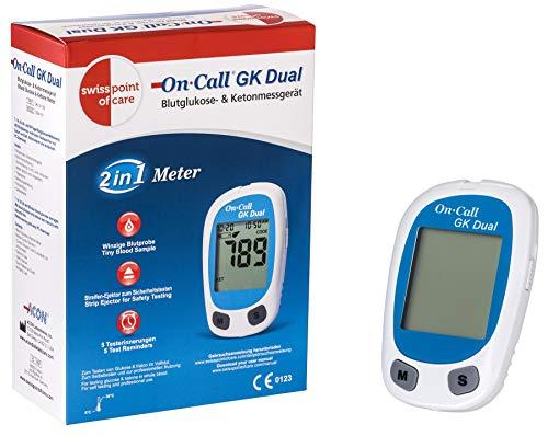 Swiss Point Of Care GK Dual Blutzucker- und Ketone Messgerät (mg/dl) | Für die laborgenaue Messung von Blutzucker und Blut-beta-Ketone | schnelle Analyse in nur 10 sec. | Maßeinheit: mg/dl