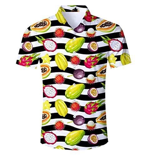 Galleria fotografica T-Shirt Estiva da Uomo, T-Shirt Vivace Colorata, T-Shirt da Spiaggia, T-Shirt con Stampa di Frutta, T-Shirt Casual, T-Shirt con Risvolto, T-Shirt Manica Corta da Uomo