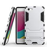 SATURCASE Oppo NEO 7 / A33 Hülle, Hybrid 2 In 1 [PC und Silikon] Dual-Layer Stoßstange Cover Case Handy Tasche Schutzhülle Handyhülle Hülle mit Kippständer für Oppo NEO 7 / A33 (Silber)